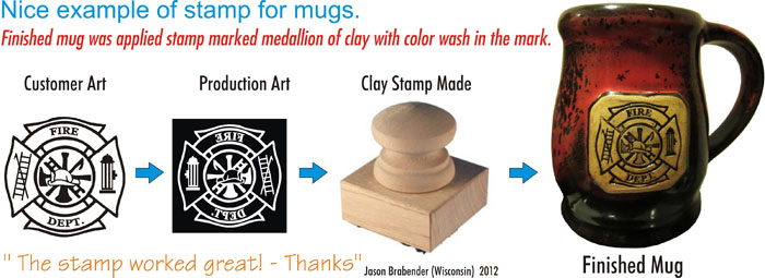 Examples of stamps for clay, marker's marks, chop for ceramic art