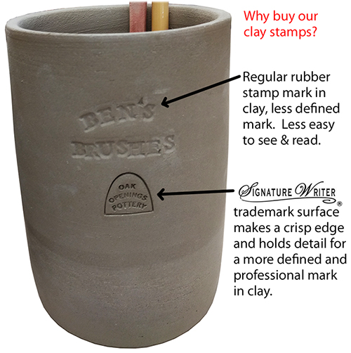 compare our stamps to regular rubber stamps for clay marking