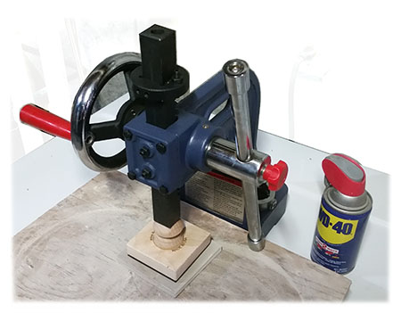 arbor press used with stamp tool