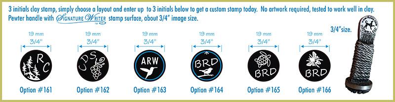 Opciones de sellos para arcilla con iniciales