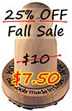 25% off all stock clay stamps in our wood 1 inch size