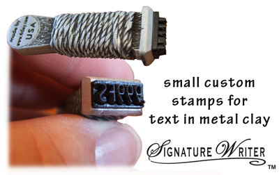 Small stamps for precious metal clay (PMC)