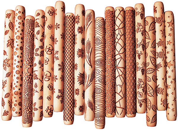 Hand Rollers for marking clay like textured rolling pin