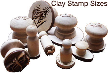 Wood clay stamp sizes and designs for marking soft clay