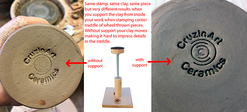 supporting the clay while you stamp the center area